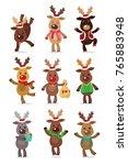 santa s reindeer set. vector... | Shutterstock .eps vector #765883948