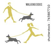 Stock photo a man and a woman walking a dog logo design for dog walking training or dog related business dog 765887710