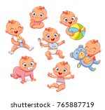 happy smiling newborn girl in... | Shutterstock .eps vector #765887719