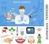 dental services banner and... | Shutterstock .eps vector #765903580