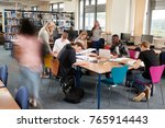 busy college library with...   Shutterstock . vector #765914443