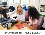 careers advisor meeting female... | Shutterstock . vector #765916660