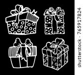 hand drawn doodle present box... | Shutterstock .eps vector #765917824