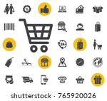 shopping cart simple icon on...
