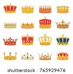 set of crowns isolated on white ... | Shutterstock .eps vector #765929476