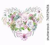 cute heart of watercolor roses... | Shutterstock . vector #765929656