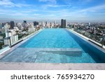 a modern rooftop swimming pool... | Shutterstock . vector #765934270