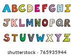 cartoon style alphabet letters | Shutterstock .eps vector #765935944