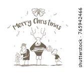 merry christmas from deer family | Shutterstock .eps vector #765942466