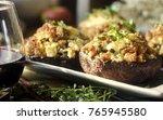 stuffed mushrooms with italian... | Shutterstock . vector #765945580