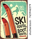 ski rental retro sign design... | Shutterstock .eps vector #765946579