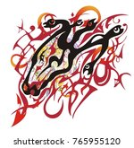 grunge flaming horse head with...   Shutterstock .eps vector #765955120