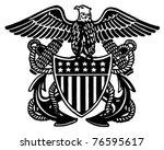 navy officer crest   retro ad... | Shutterstock .eps vector #76595617