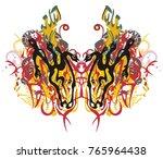 grunge tribal linear butterfly...   Shutterstock .eps vector #765964438