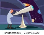 astronomer looking through... | Shutterstock .eps vector #765986629