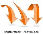 orange down arrows. set of 3d... | Shutterstock .eps vector #765988528