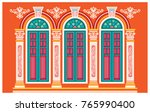 classic windows. building old... | Shutterstock .eps vector #765990400