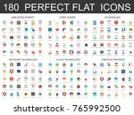 180 modern flat icons set of... | Shutterstock .eps vector #765992500