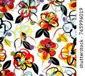 floral seamless pattern...   Shutterstock .eps vector #765996019