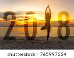 yoga happy new year card 2018.... | Shutterstock . vector #765997234