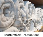 stack of bath towels on light... | Shutterstock . vector #766000600