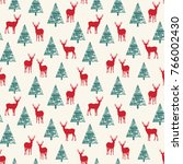the pattern depicting deer in... | Shutterstock .eps vector #766002430