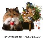 fluffy cat and chickadees... | Shutterstock . vector #766015120