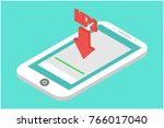 smartphone isometric download... | Shutterstock .eps vector #766017040