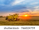 combine hervester at sunset... | Shutterstock . vector #766024759