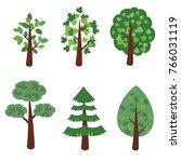 set of simple cartoon tree  ...   Shutterstock .eps vector #766031119