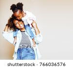 adorable sweet young afro... | Shutterstock . vector #766036576
