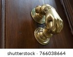 old door handle on an ancient... | Shutterstock . vector #766038664