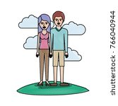 couple in colored crayon... | Shutterstock .eps vector #766040944