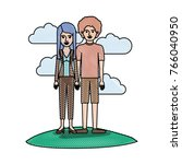 couple in colored crayon... | Shutterstock .eps vector #766040950