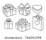 doodle set of gift boxes with... | Shutterstock .eps vector #766041598