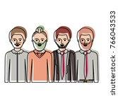 men in half body with casual... | Shutterstock .eps vector #766043533