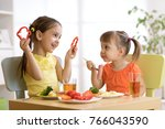 children kids eating food in... | Shutterstock . vector #766043590