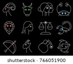 flat simple image with zodiac... | Shutterstock .eps vector #766051900