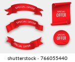 special offer vector ribbon.red ... | Shutterstock .eps vector #766055440