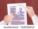 hiring robot for a job position.... | Shutterstock .eps vector #766056814