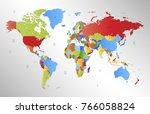 color world map vector | Shutterstock .eps vector #766058824