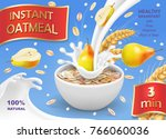 instant oatmeal with pear ad... | Shutterstock .eps vector #766060036