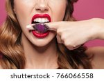 cropped photo of angry lady... | Shutterstock . vector #766066558