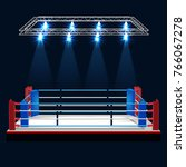 boxing ring and floodlights...   Shutterstock .eps vector #766067278