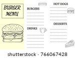 burger menu  fast food template ... | Shutterstock .eps vector #766067428