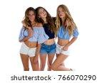 thee teen best friends girls... | Shutterstock . vector #766070290
