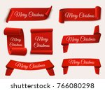 christmas banners isolated. set ... | Shutterstock .eps vector #766080298