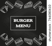 burger menu  fast food template ... | Shutterstock .eps vector #766080610