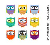 set of cartoon colorful owls | Shutterstock .eps vector #766083253