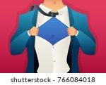 businessman tears his shirt.... | Shutterstock .eps vector #766084018